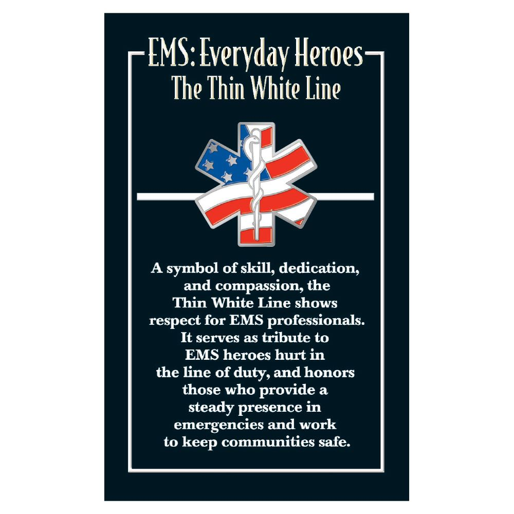 American Flag Star Of Life Lapel Pin With Thin White Line Presentation Card