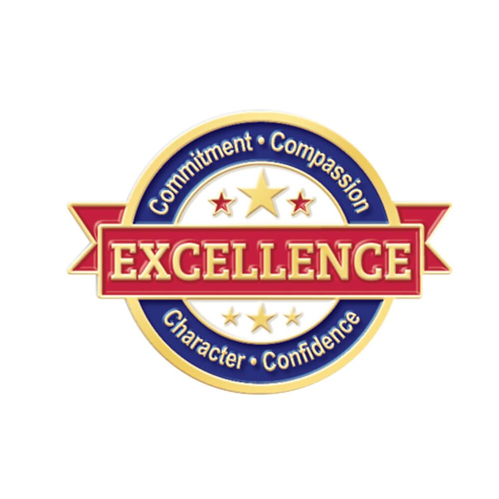 Excellence * Commitment * Compassion * Character * Confidence Lapel Pin With Presentation Card