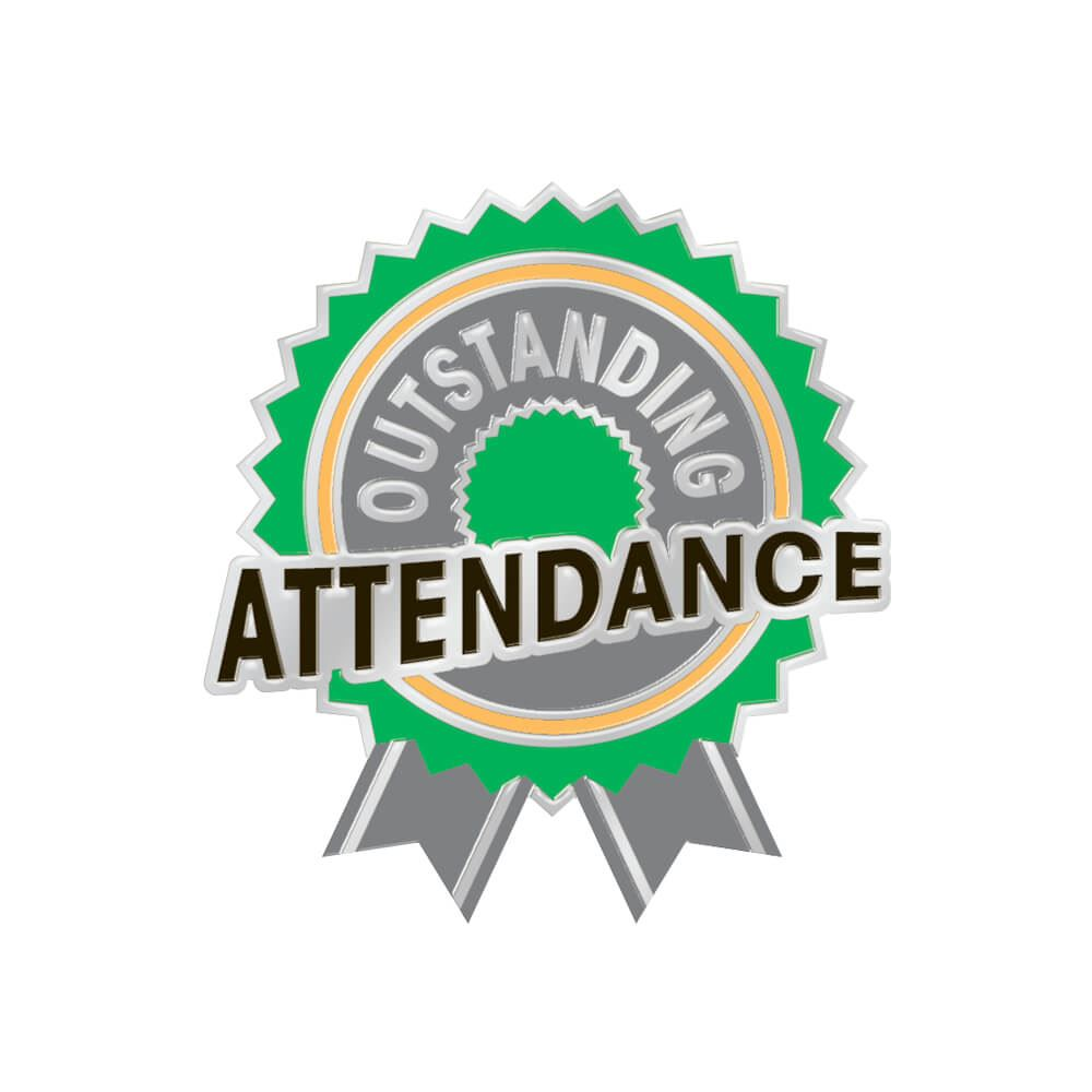 Outstanding Attendance Lapel Pin With Presentation Card