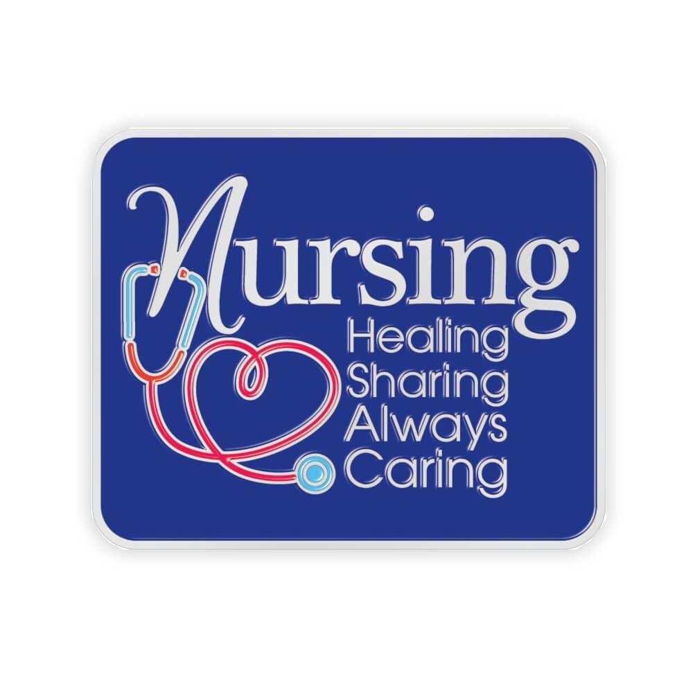 Nursing: Healing, Sharing, Always Caring Lapel Pin With Presentation Card