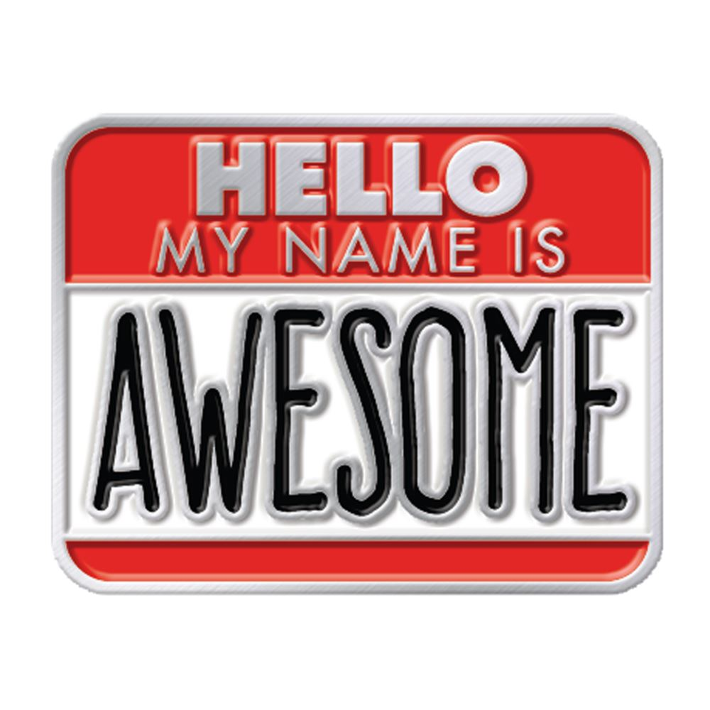 Hello My Name Is Awesome Lapel Pin With Presentation Card
