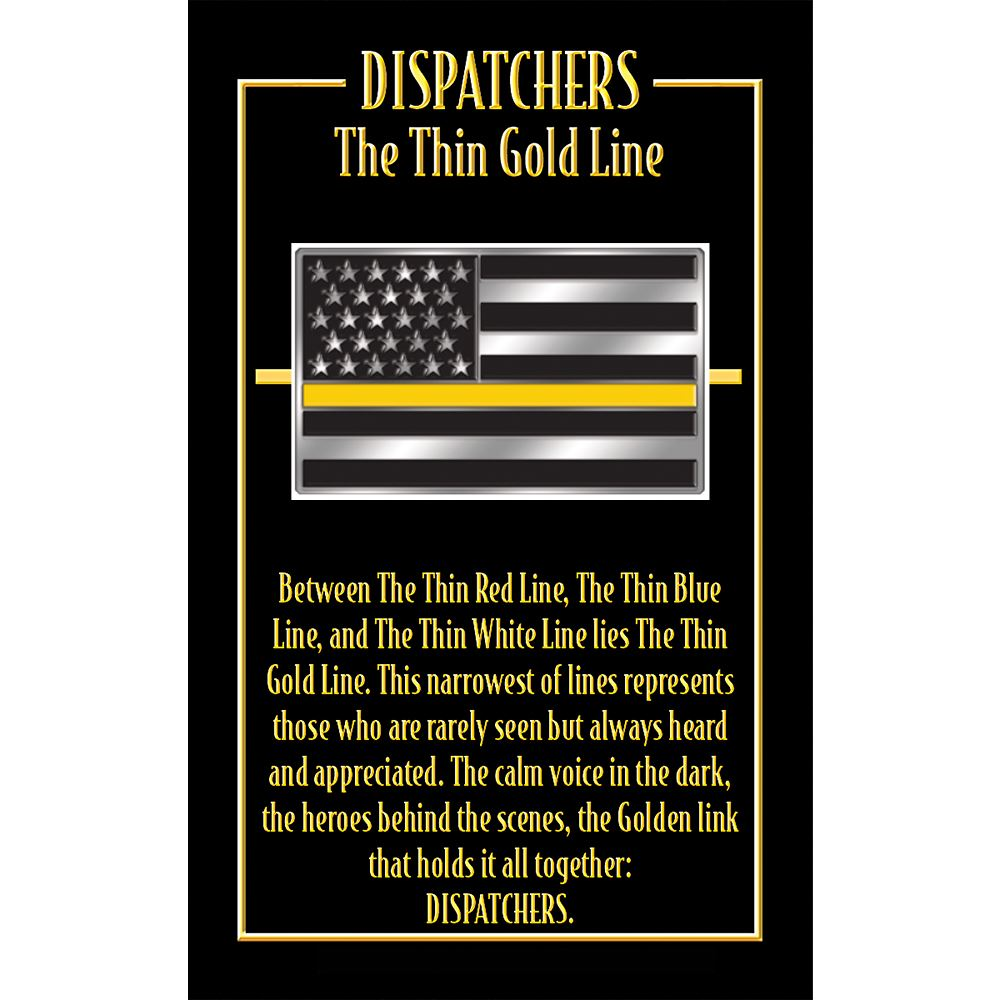 Flag With The Thin Gold Line Lapel Pin With Presentation Card