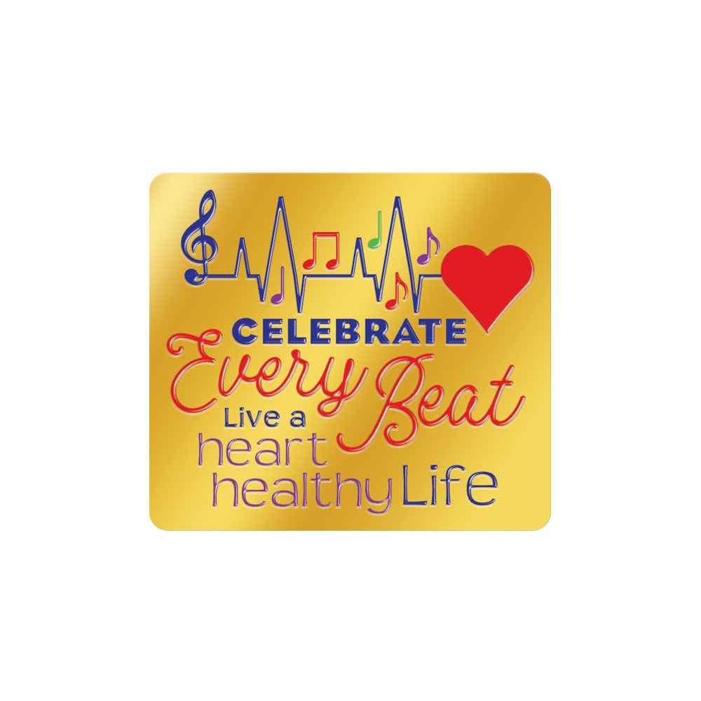 Celebrate Every Beat Live Heart Healthy Life Women's Heart-Health Awareness Lapel Pin & Presentation Card