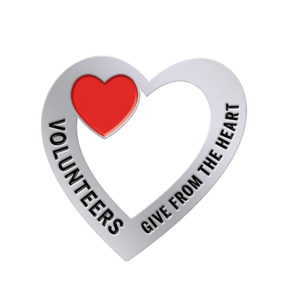 Volunteers: Give From The Heart Lapel Pin With Presentation Card