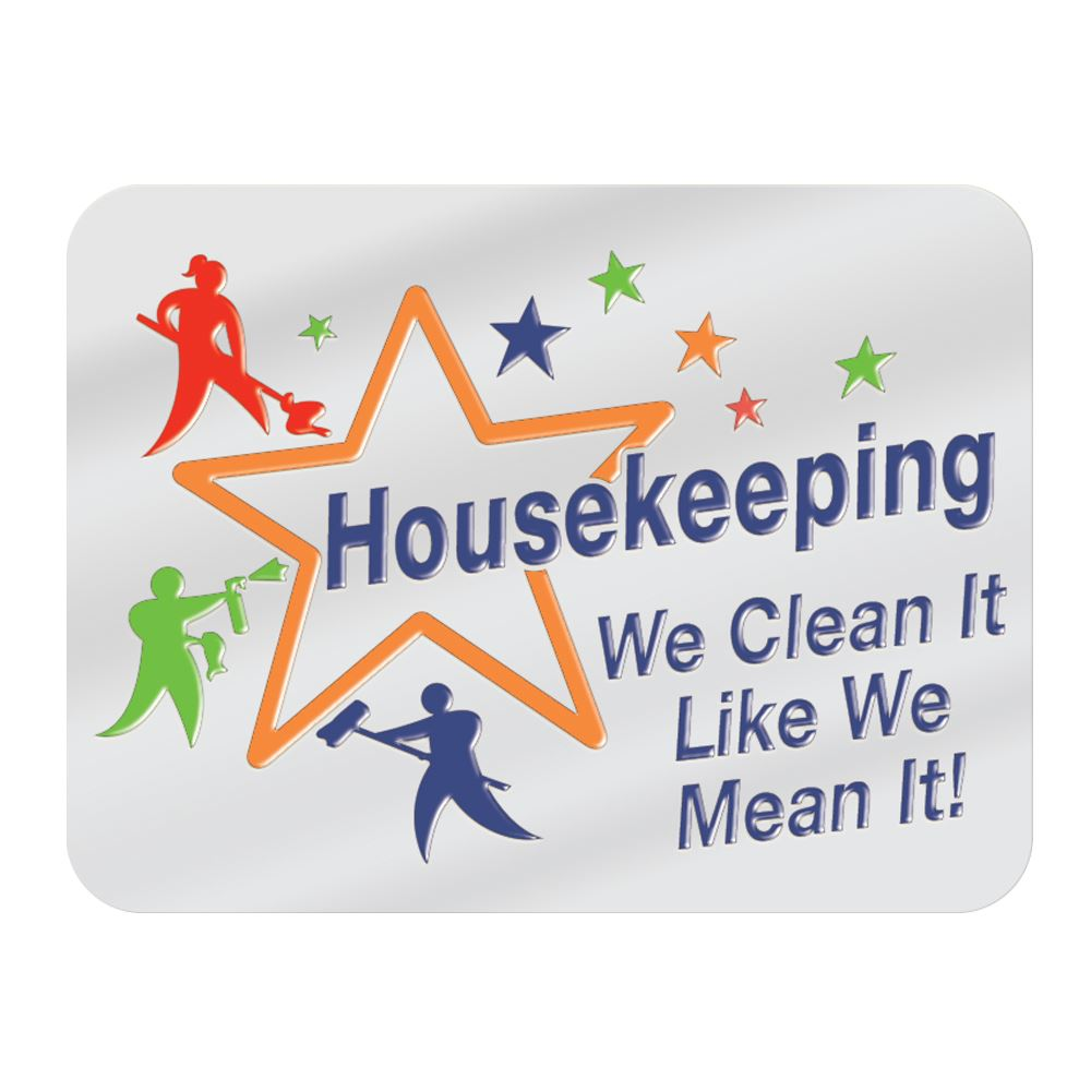 Housekeeping: We Clean It Like We Mean It! Lapel Pin With Presentation Card