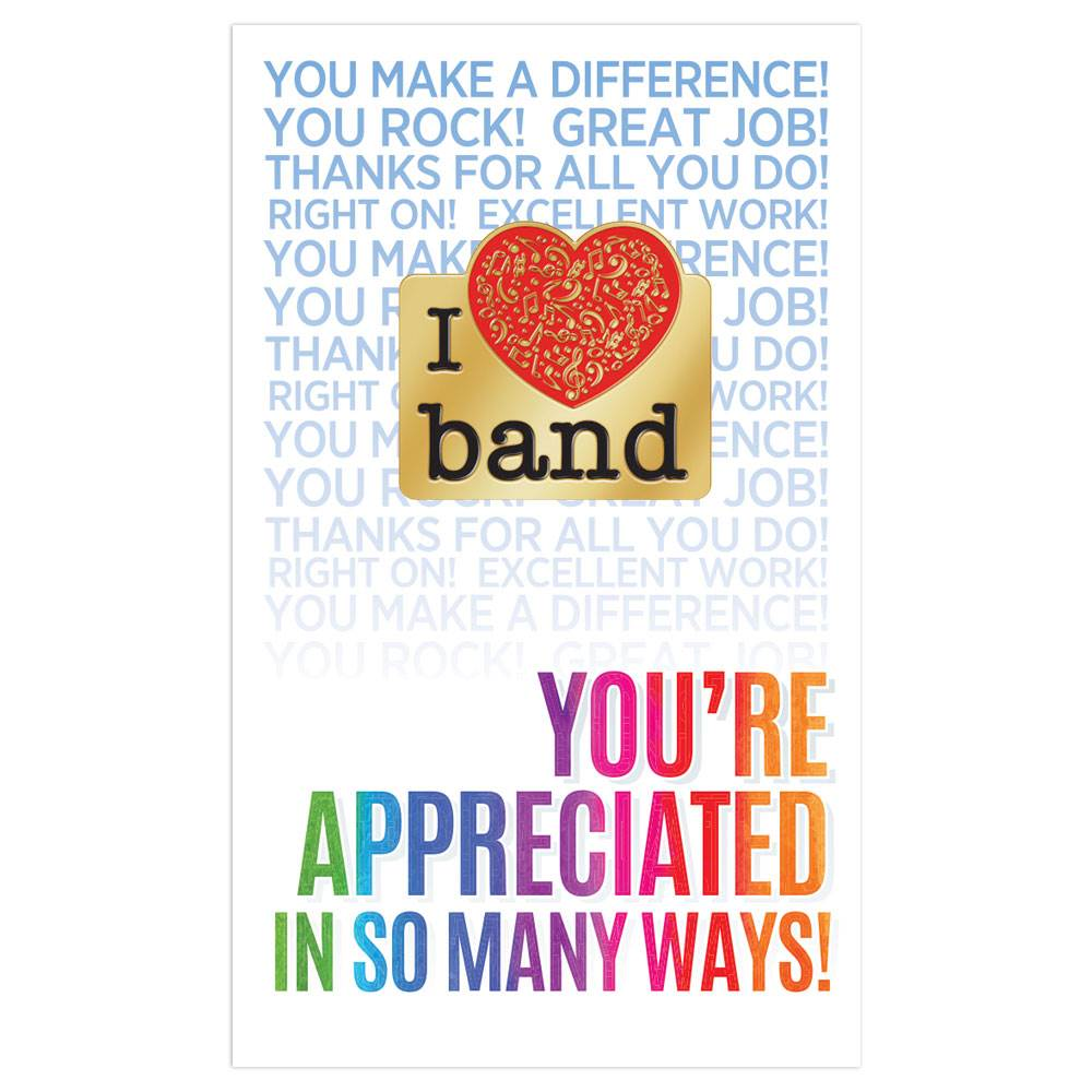 I Love Band Lapel Pin with Presentation Card