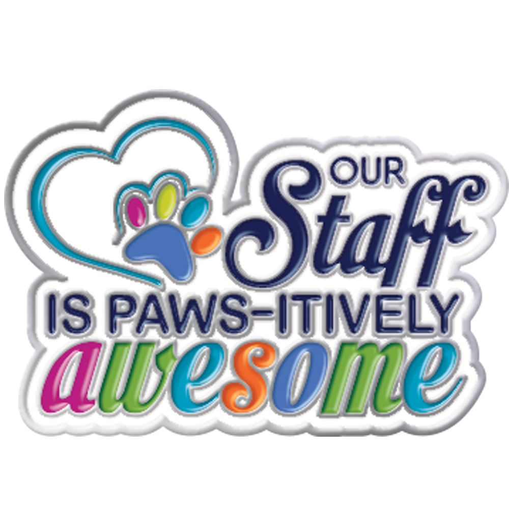 Our Staff Is PAWS-itively Awesome Lapel Pin With Presentation Card