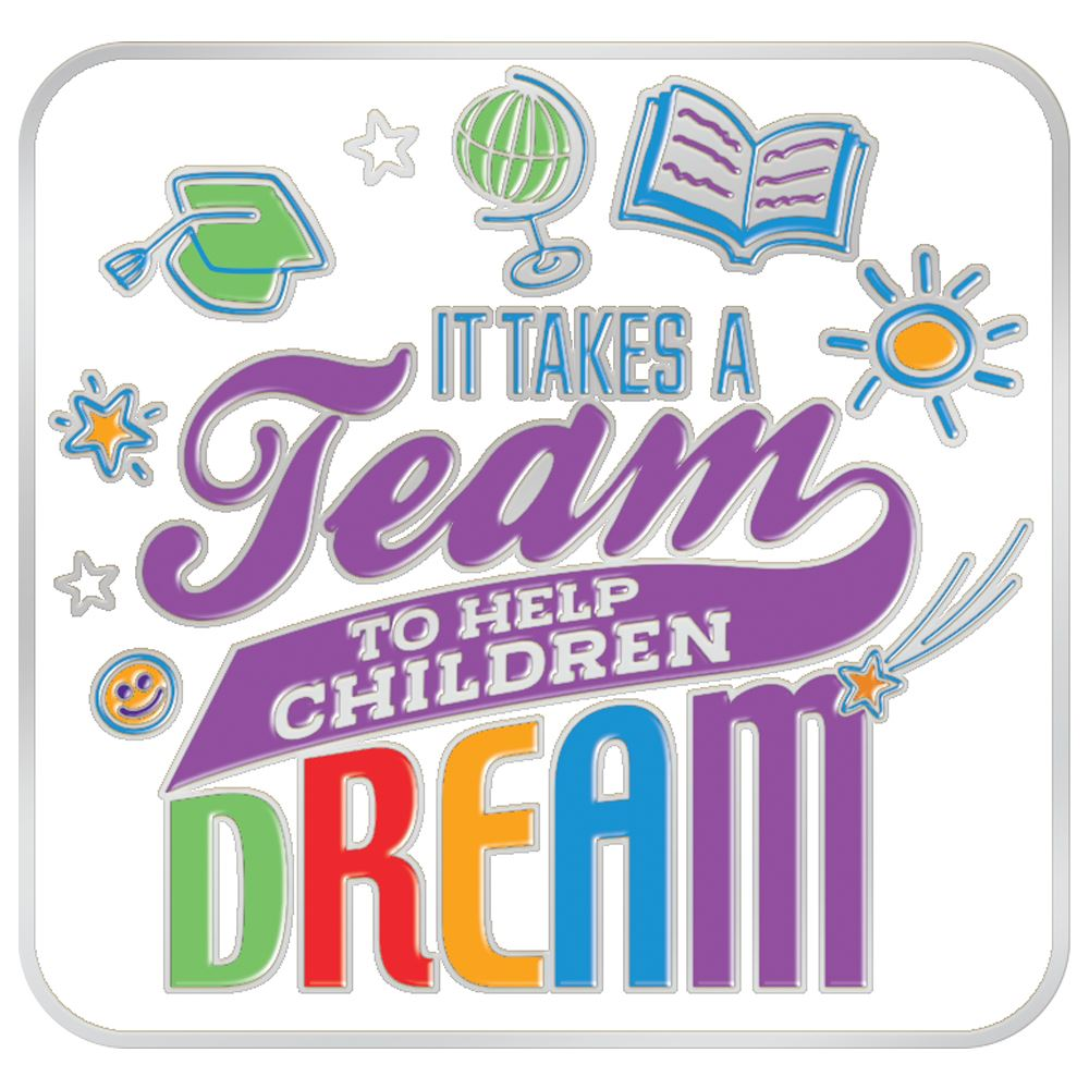 It Takes A Team To Help Children Dream Lapel Pin With Presentation Card