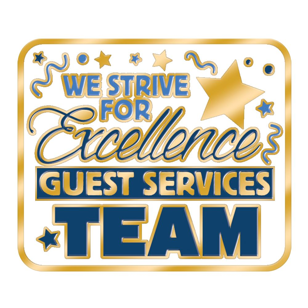 Guest Services Team: We Strive For Excellence Lapel Pin With Presentation Card