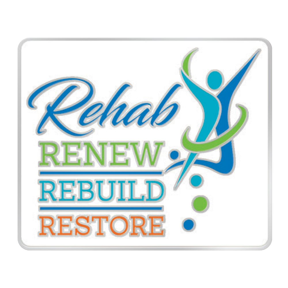 Rehab: Renew, Rebuild, Restore Lapel Pin with Presentation Card