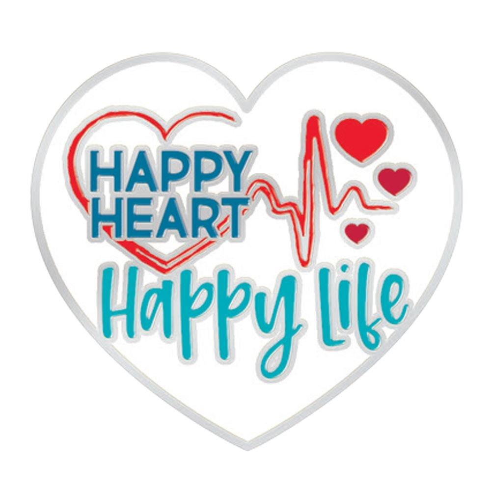 Happy Heart - Happy Life Lapel Pin With Presentation Card