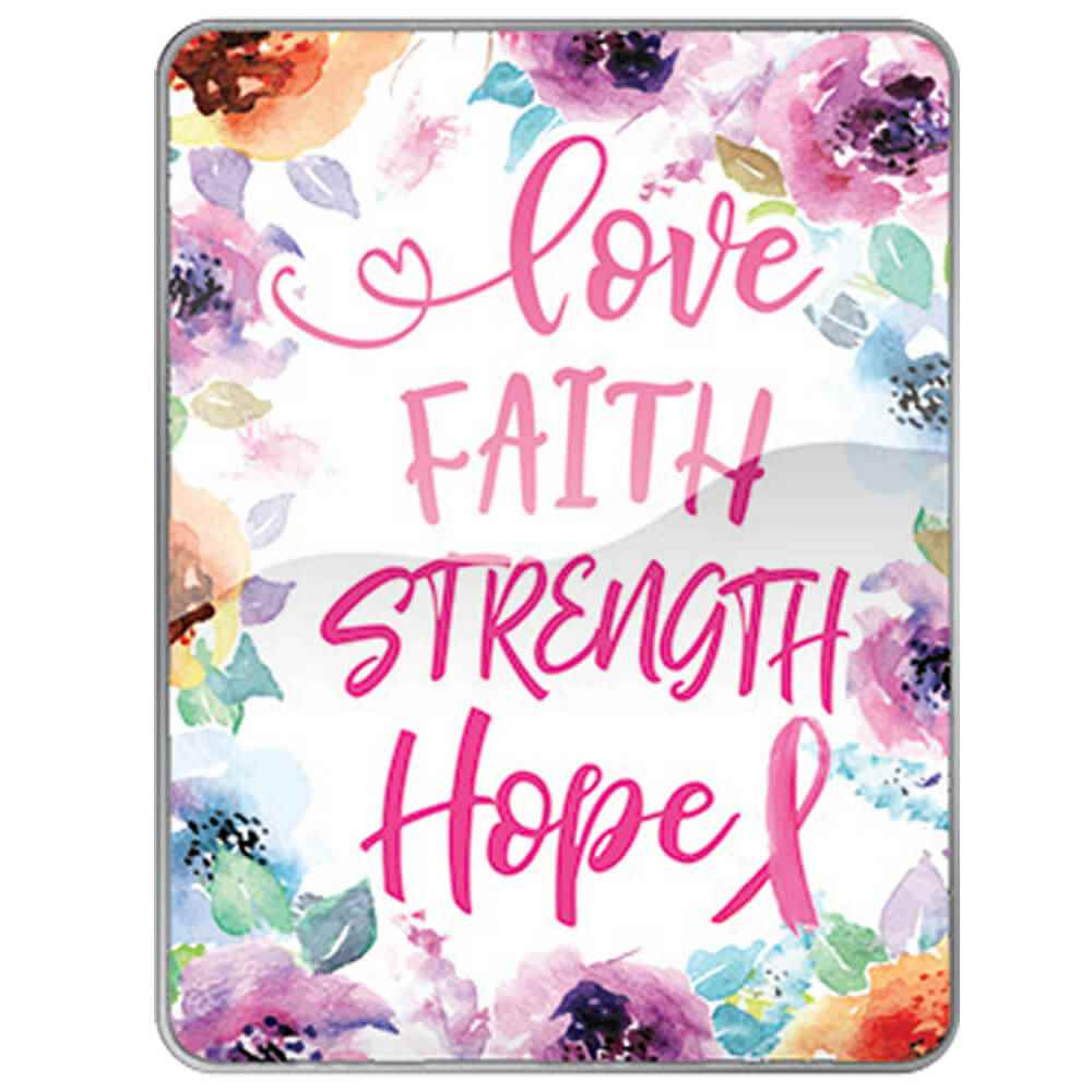 Love, Faith, Strength, Hope Breast Cancer Awareness Lapel Pin with Presentation Card