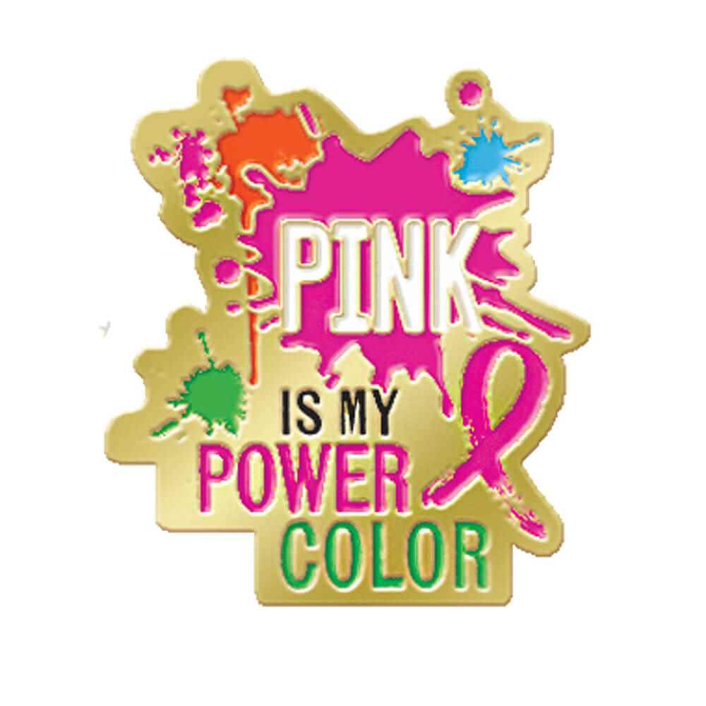 Pink Is My Power Color Breast Cancer Awareness Lapel Pin with Presentation Card
