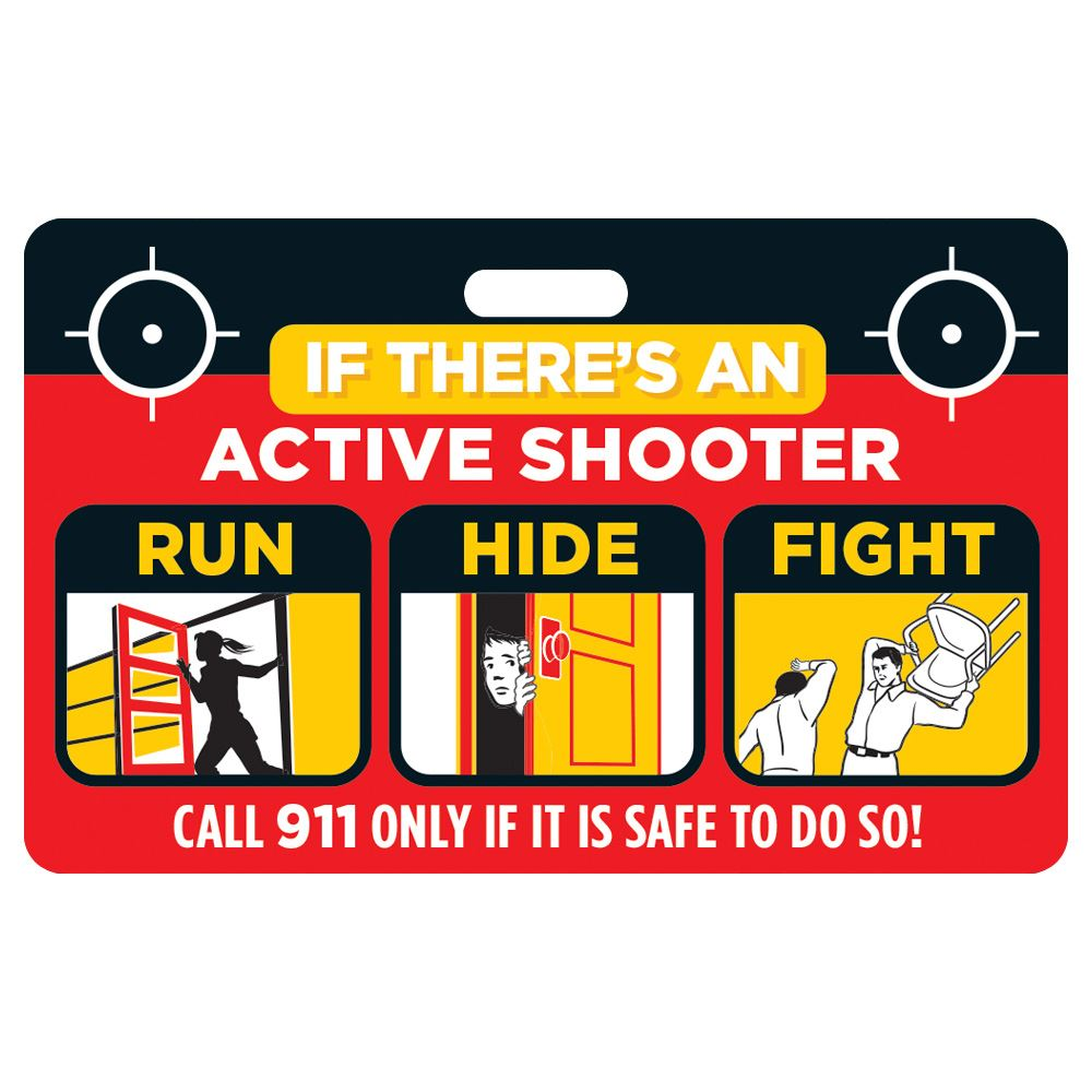 Active Shooter (Run, Hide, Fight) Laminated Badge Card