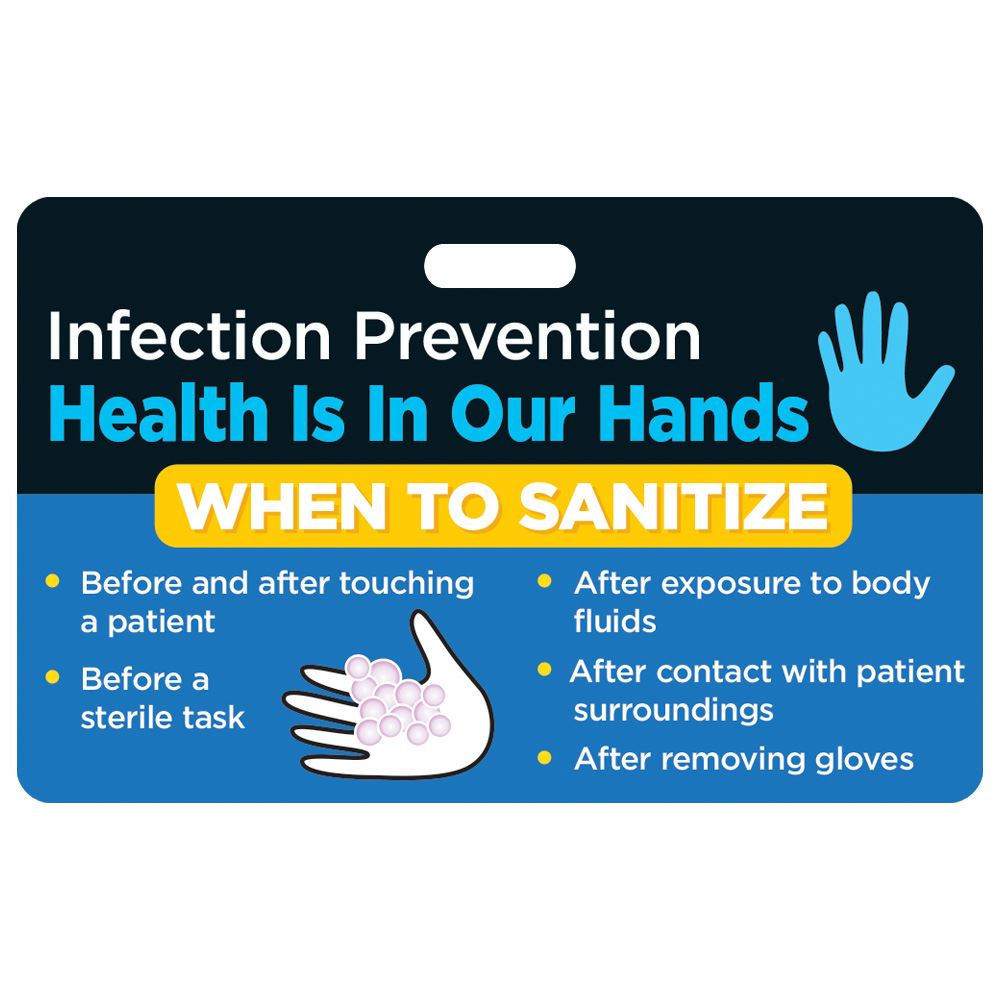 Infection Prevention/Hand Washing Hospital Laminated Badge Card
