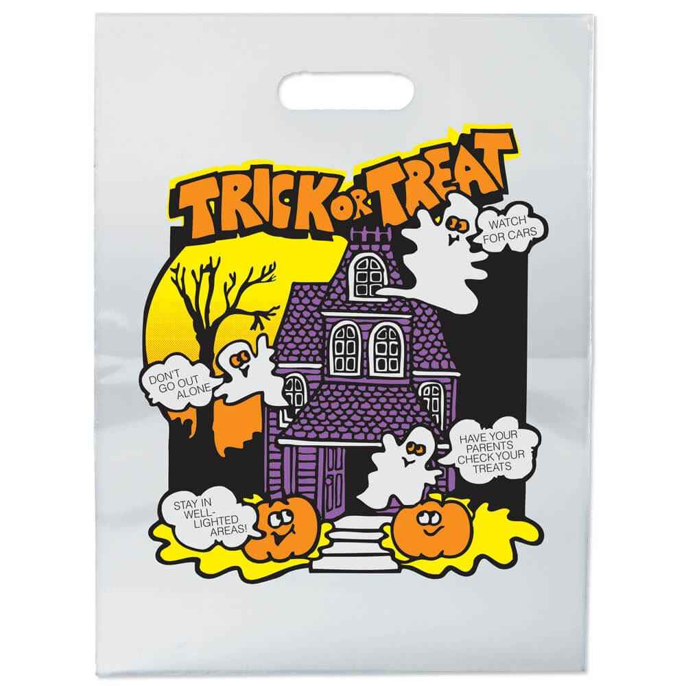 Haunted House Clear Plastic Trick-Or-Treat Bag (Non-Personalized)