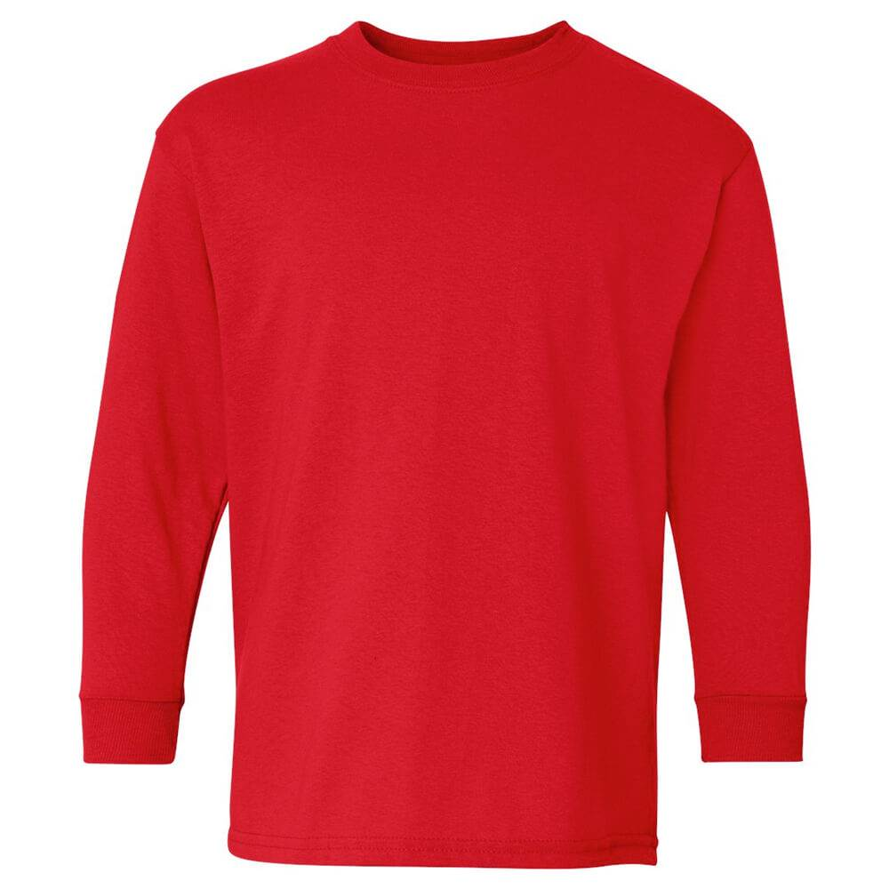 Youth Long-Sleeved 100% Cotton Jersey T-Shirt by Gildan®