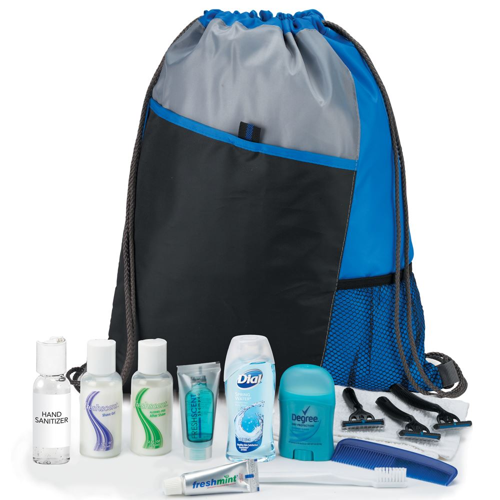 Male 14-Piece Hygiene Kit with Sport Drawstring Backpack