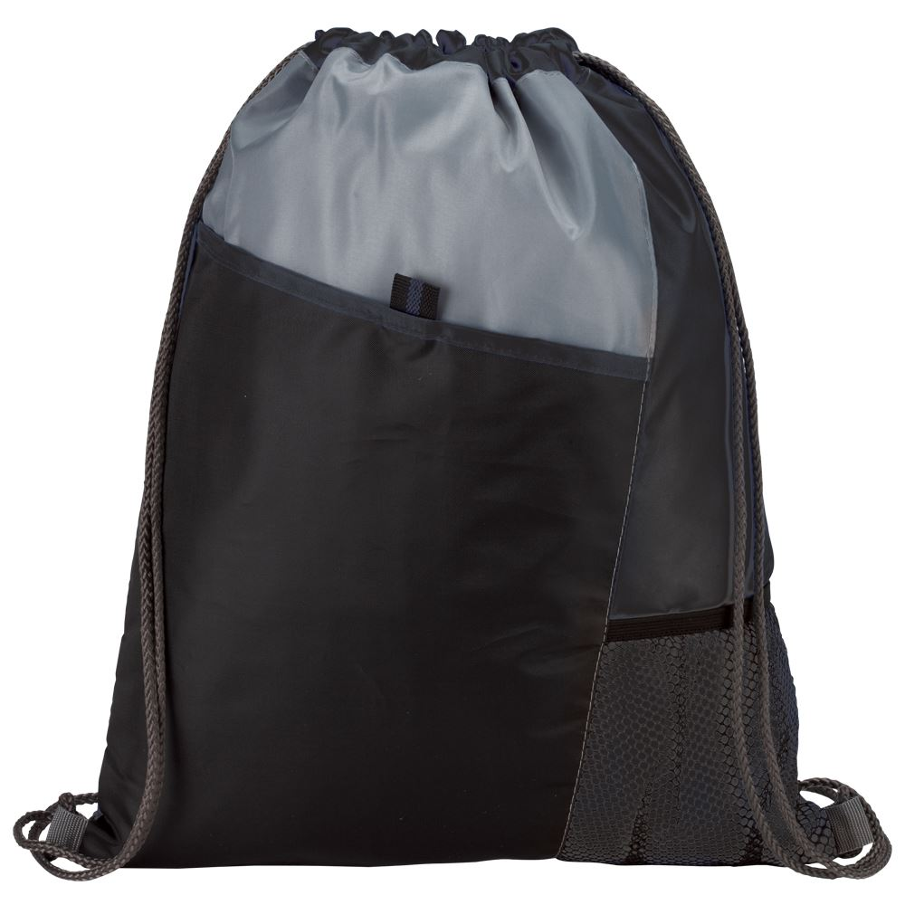 Black Sport Drawstring Mesh Backpack