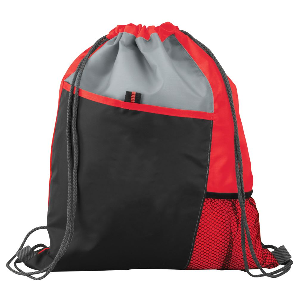 Red Sport Drawstring Mesh Backpack
