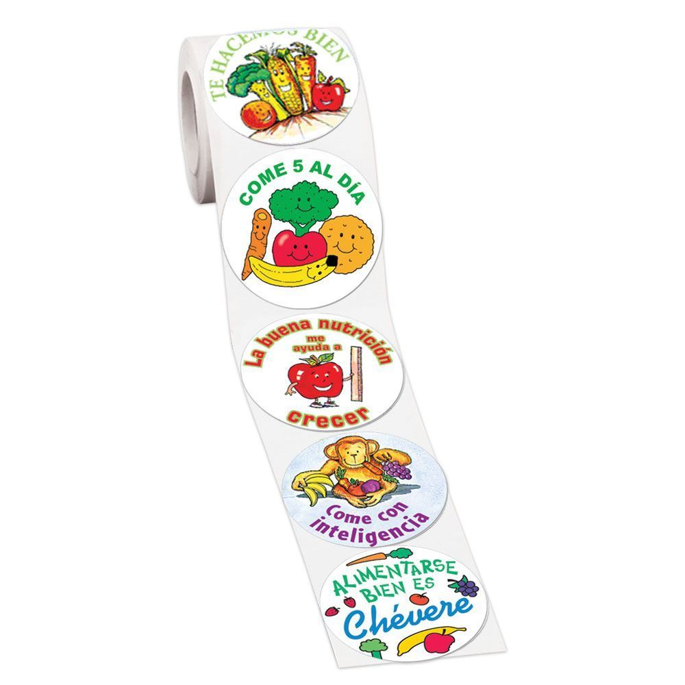 Good Nutrition Spanish Language 5-On-A-Roll Message Stickers