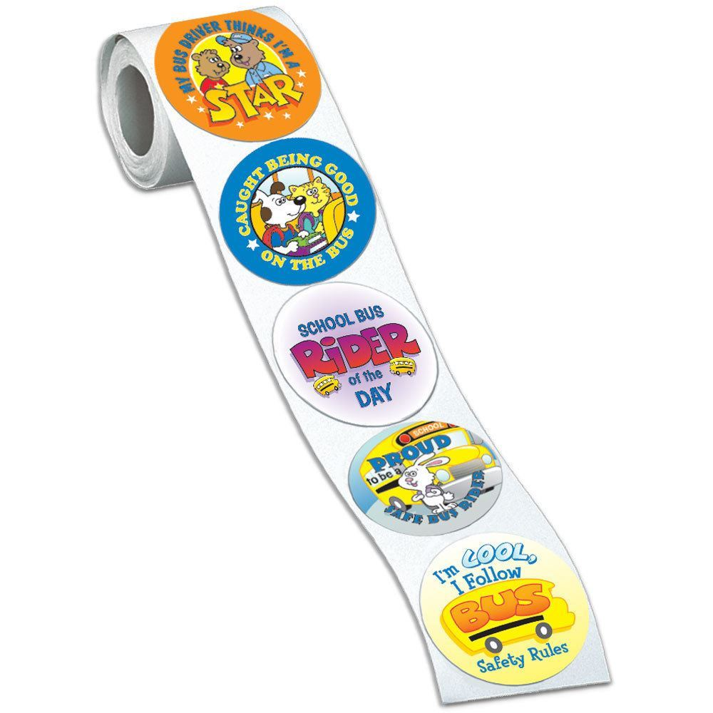 School Bus Safety Assorted Praise Themes Stickers-On-A-Roll - 200 Per Roll