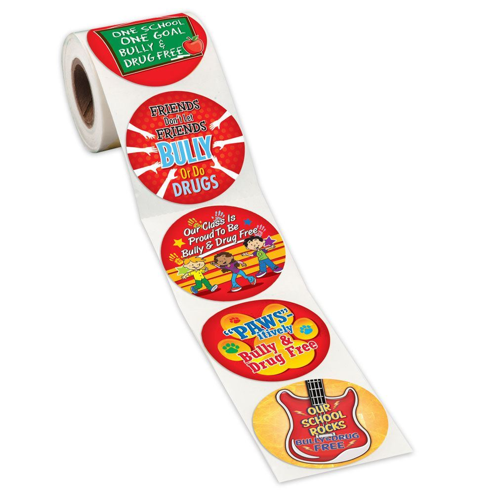 Bully & Drug Free Assortment 5-On-A-Roll Message Stickers - Roll of 200