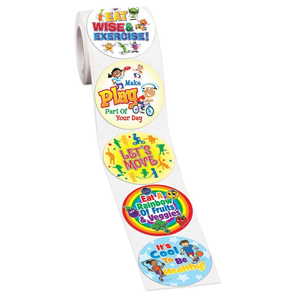 Eat Right & Exercise 5-On-A-Roll Stickers