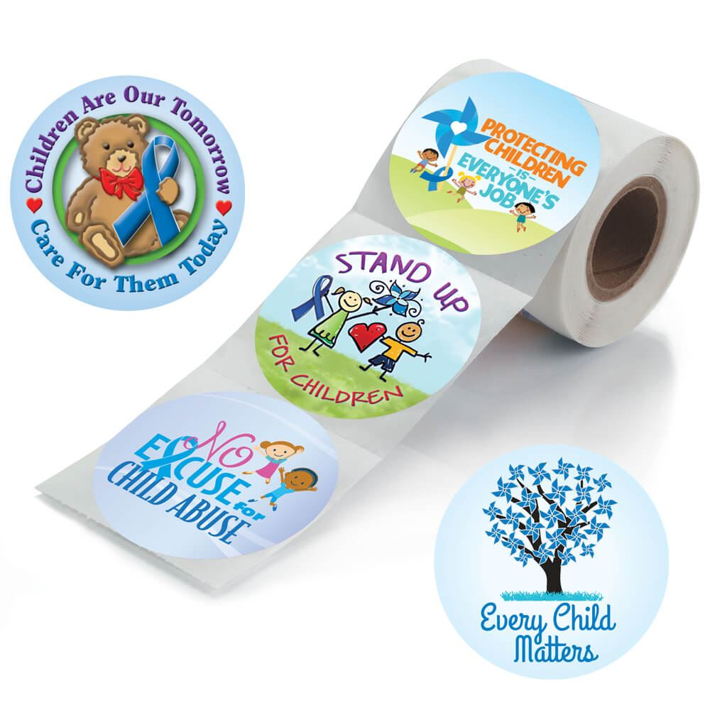 No Excuse For Child Abuse 5-On-A-Roll Stickers