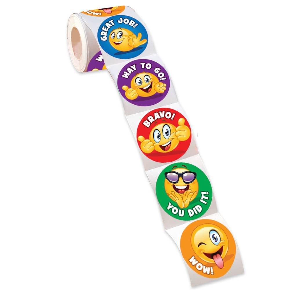 Praise Emoji Assortment Stickers - Roll of 100