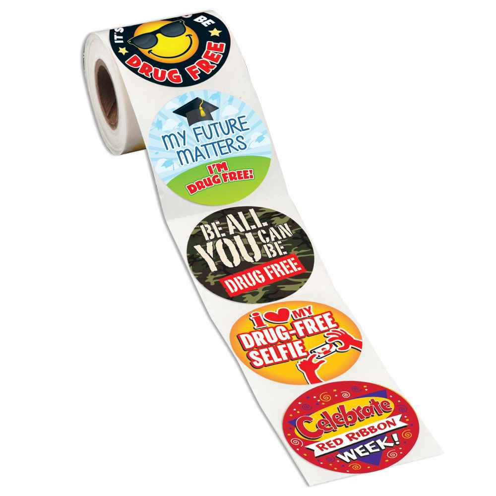 Themed Drug Free Assortment 5-On-A-Roll Message Stickers
