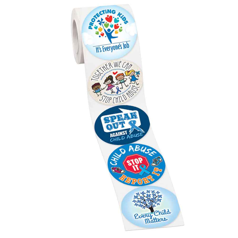 Child Abuse Awareness Message Assortment 5-On-A-Roll Stickers