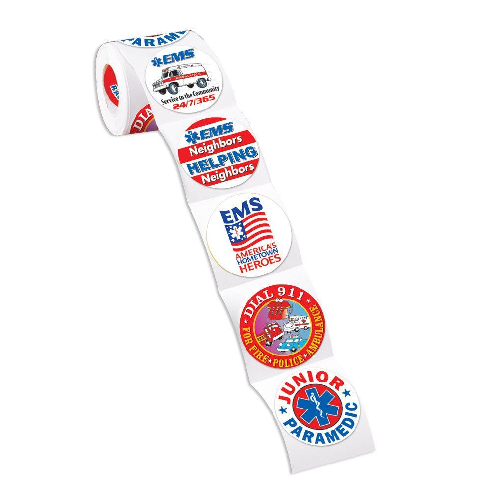 EMS 5-On-A-Roll Safety Stickers