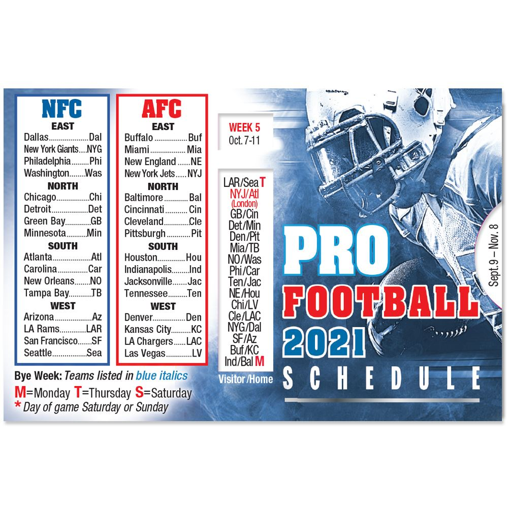 2021 Pro Football Season Wallet Size Schedule - Personalization Available