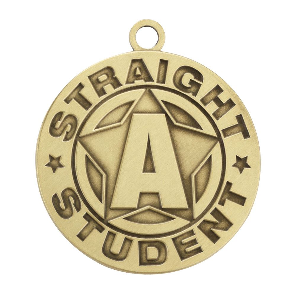 Straight A Student Gold Academic Medallion