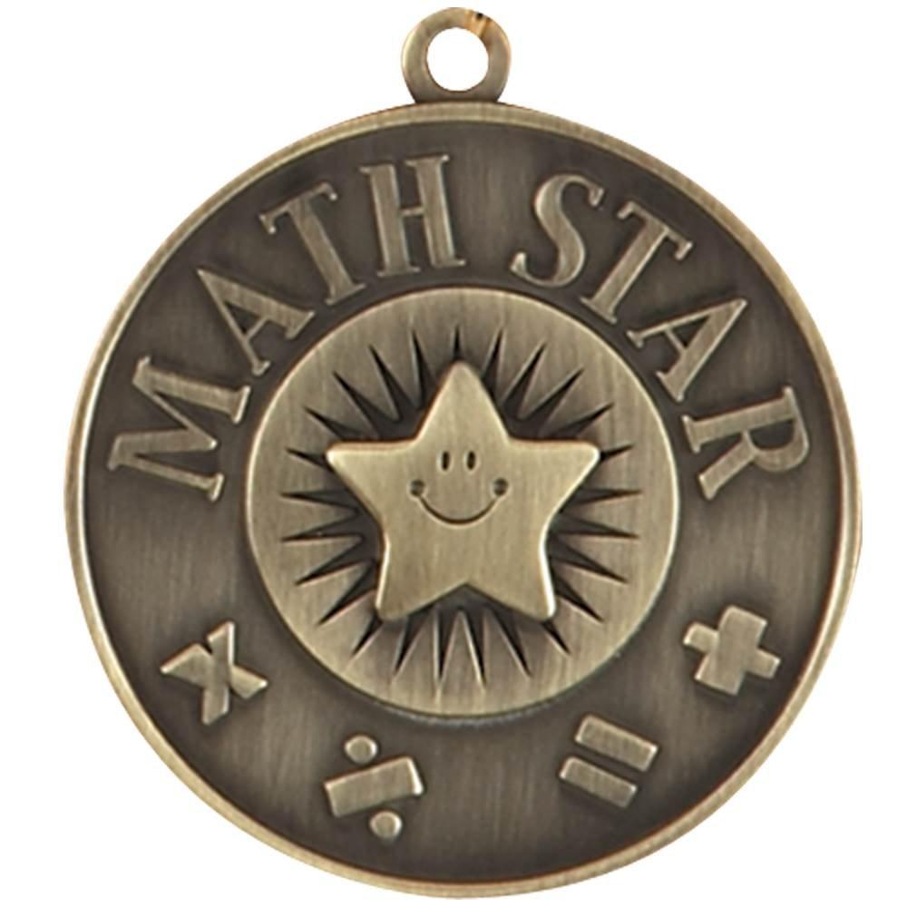 Math Star Gold Academic Medallion