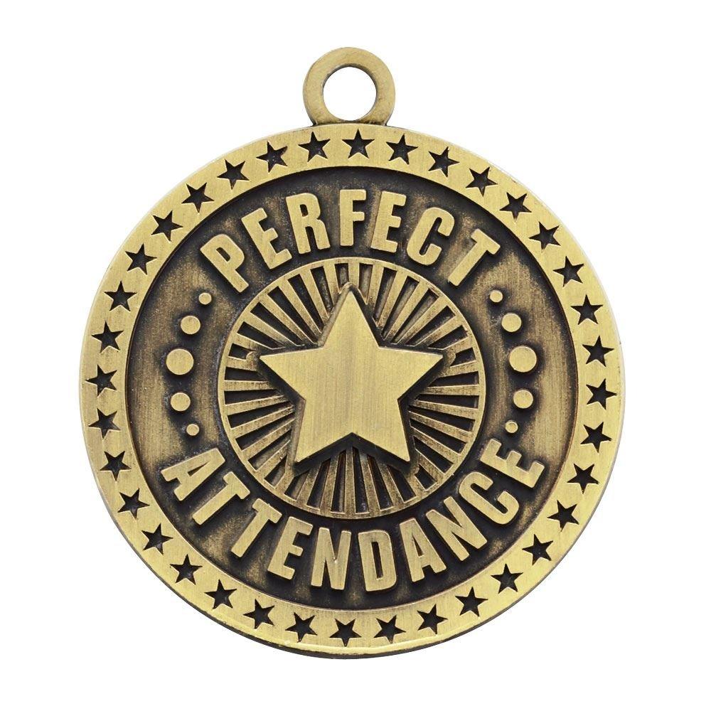 Perfect Attendance Star Design Gold Academic Medallion