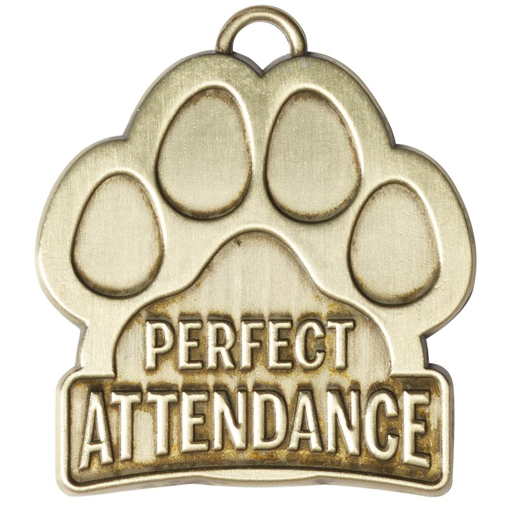 Perfect Attendance Paw-Shaped Gold Academic Medallion