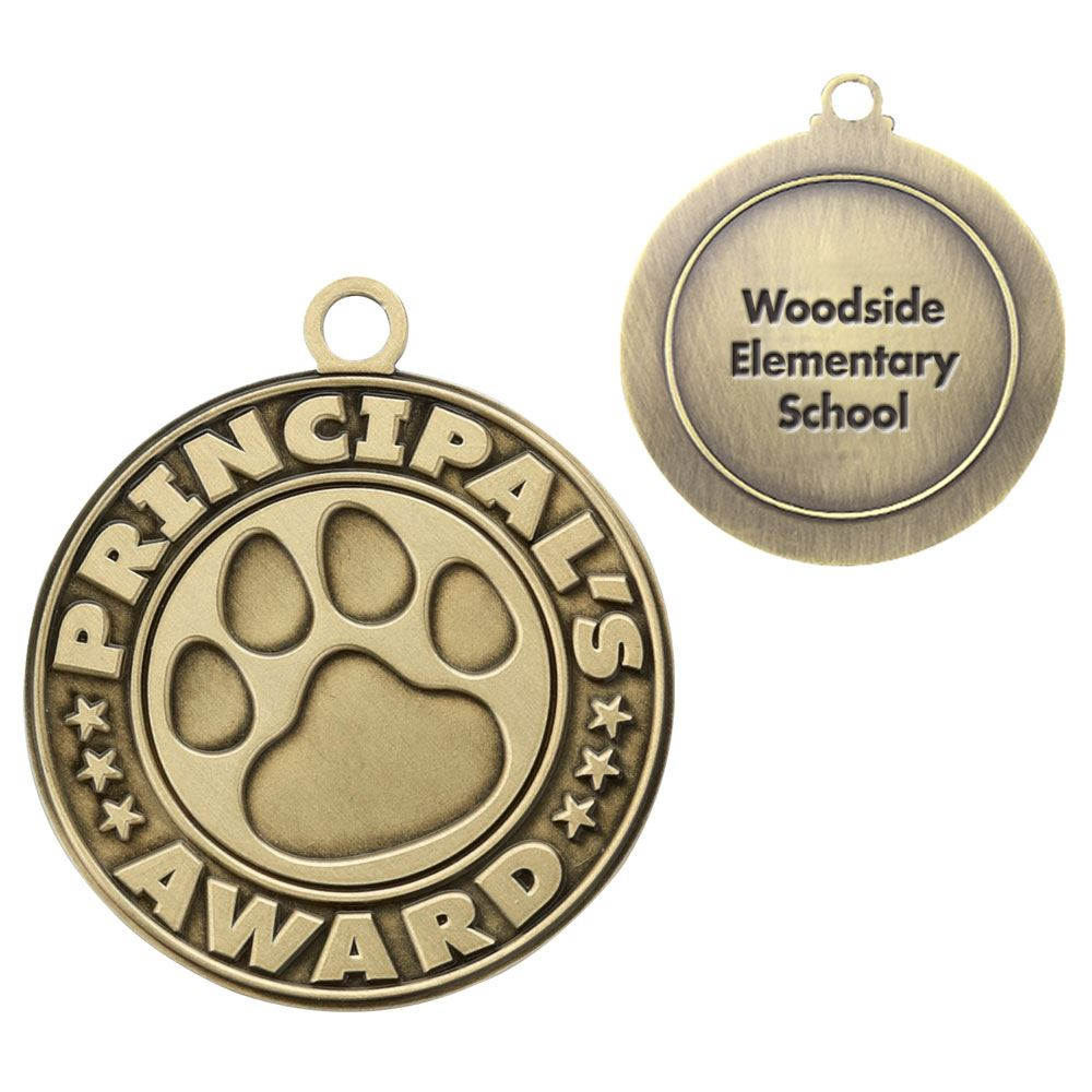 Principal's Award/Paw Gold Academic Medallion - Personalization Available