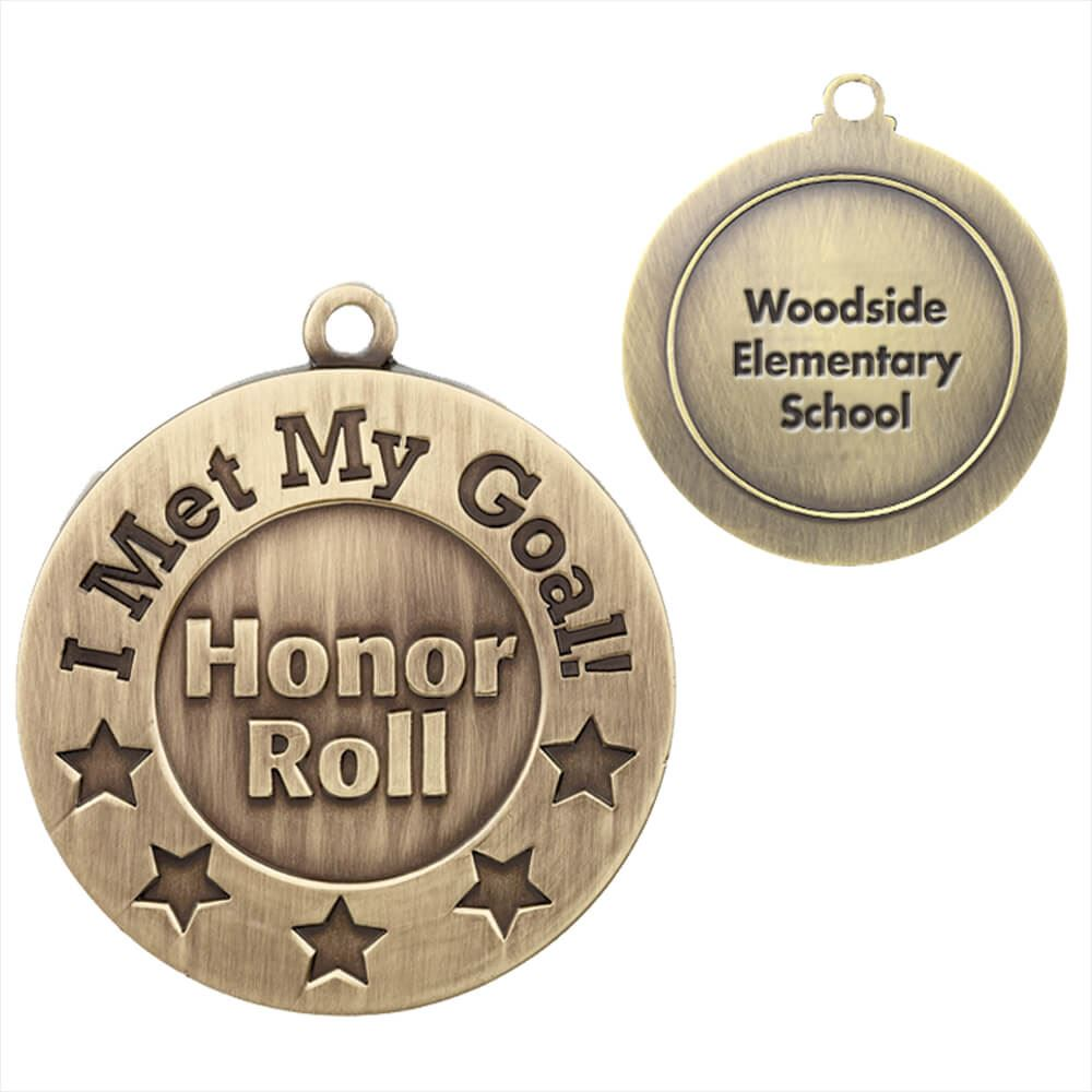 I Met My Goal/Honor Roll Gold Academic Medallion - Personalization Available