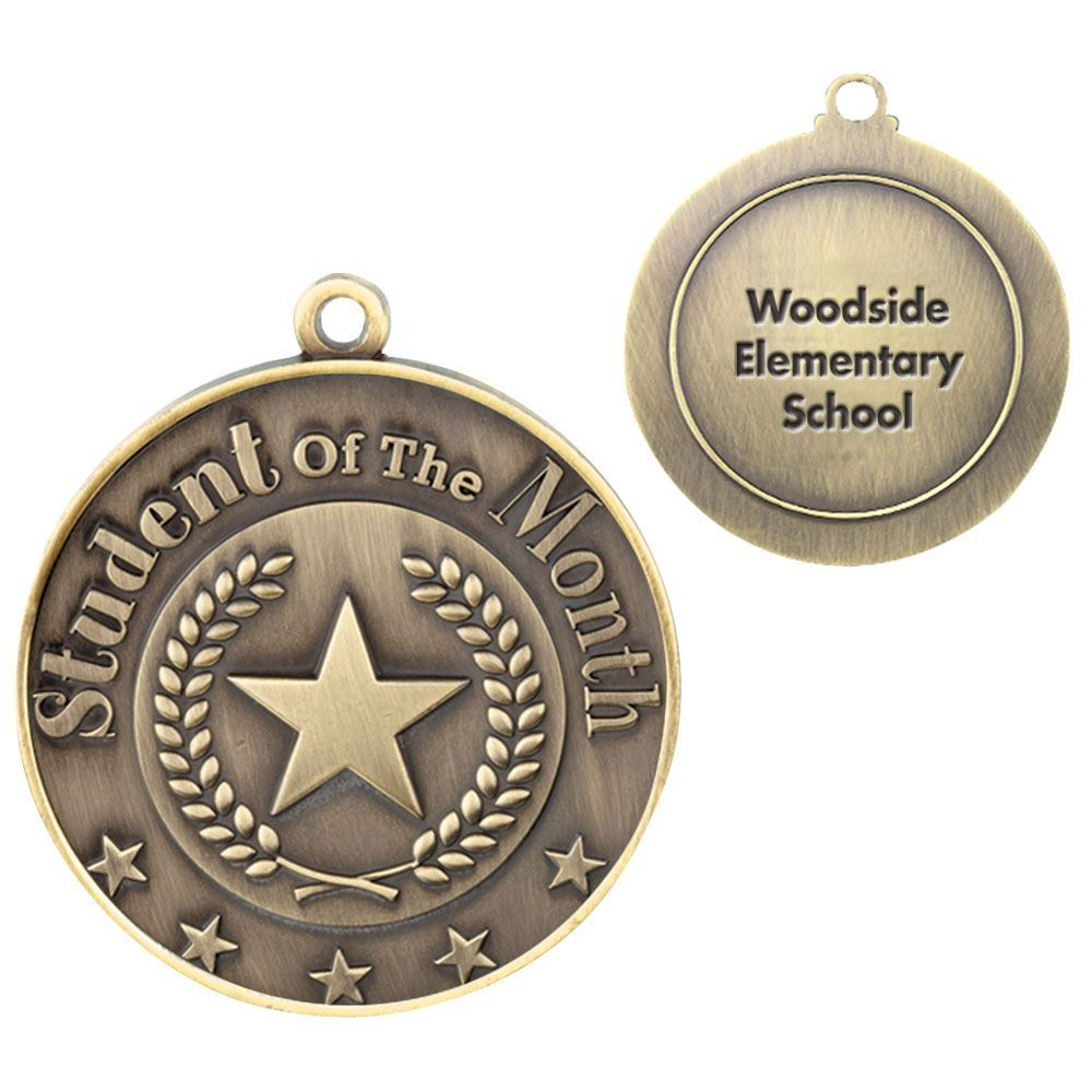 Student Of The Month Gold Academic Medallion - Personalization Available