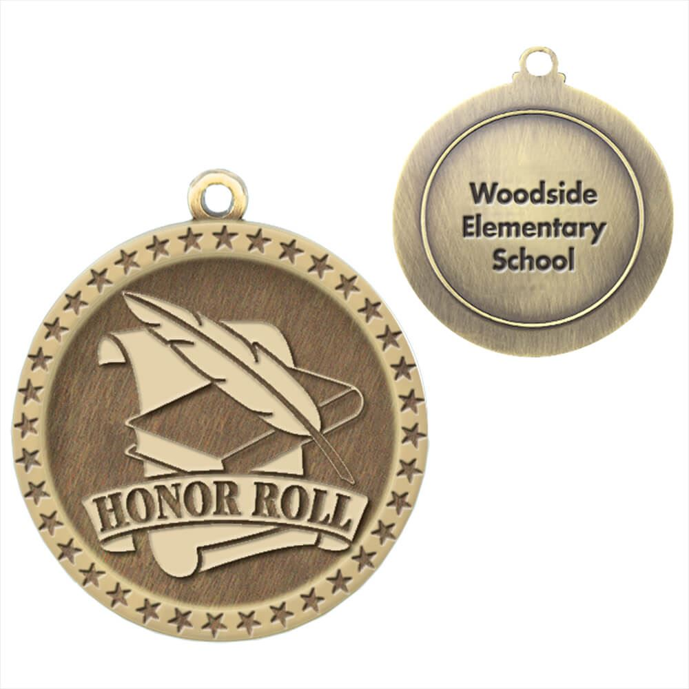 Honor Roll Gold Academic Medallions - Personalization Available