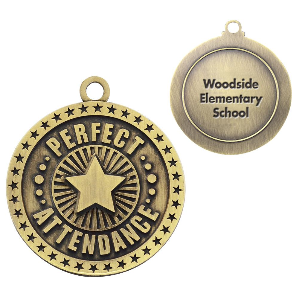 Perfect Attendance Gold Academic Medallion - Personalization Available