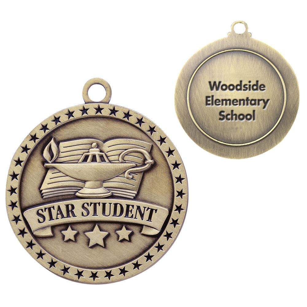 Star Student Gold Academic Medallion - Personalization Available