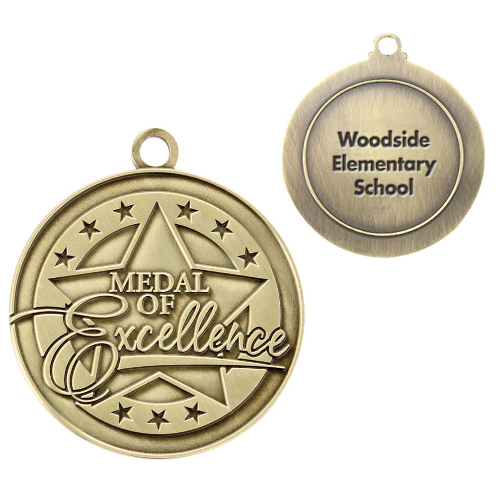 Medal Of Excellence Gold Academic Medallion - Personalization Available