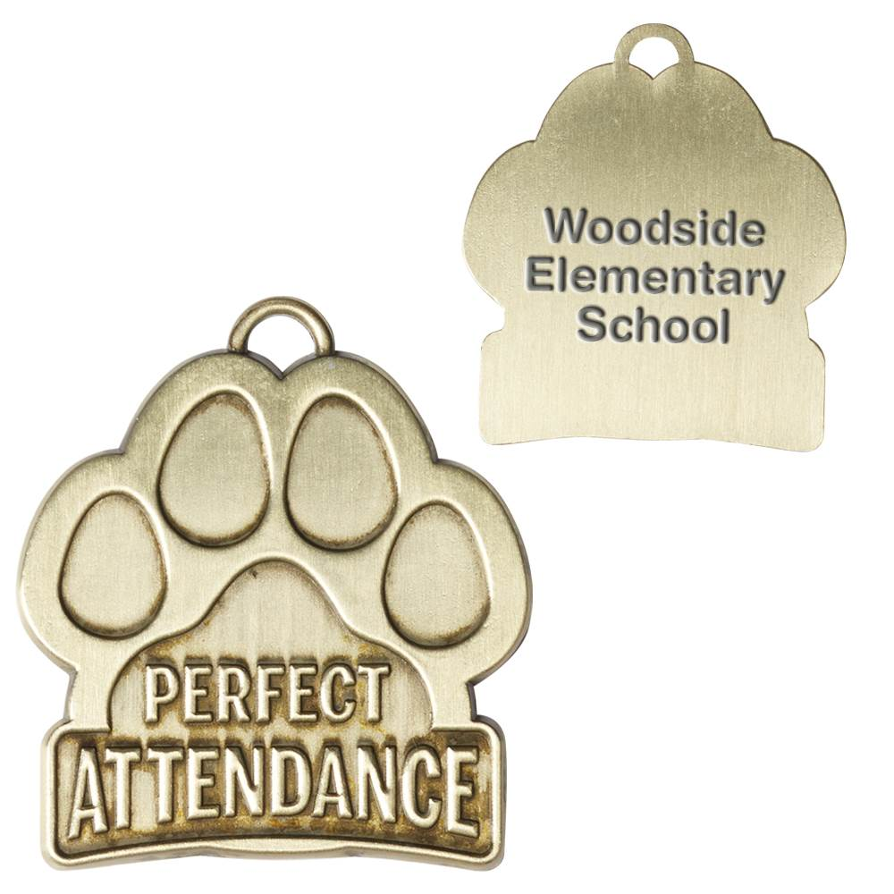 Perfect Attendance Paw-Shaped Gold Academic Medallion - Personalization Available