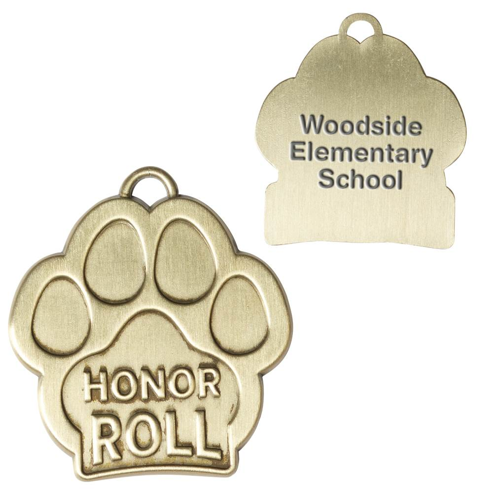 Honor Roll Paw-Shaped Gold Academic Medallion - Personalization Available