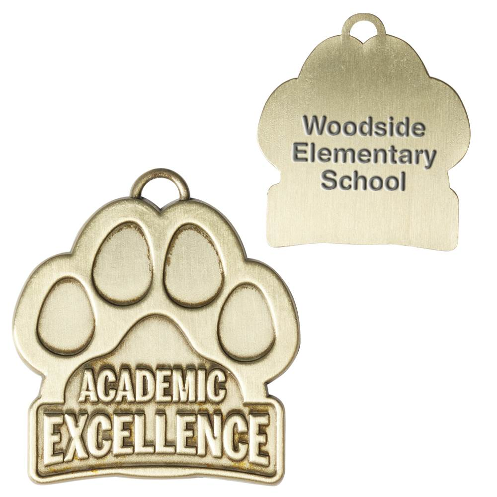 Academic Excellence Paw-Shaped Gold Academic Medallion - Personalization Available