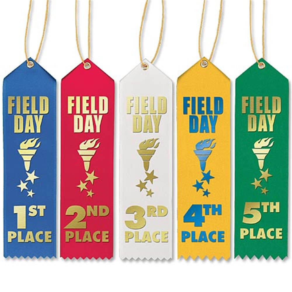 1st-5th Place Field Day Award Ribbons With Presentation Cards 50-Piece Assortment Pack
