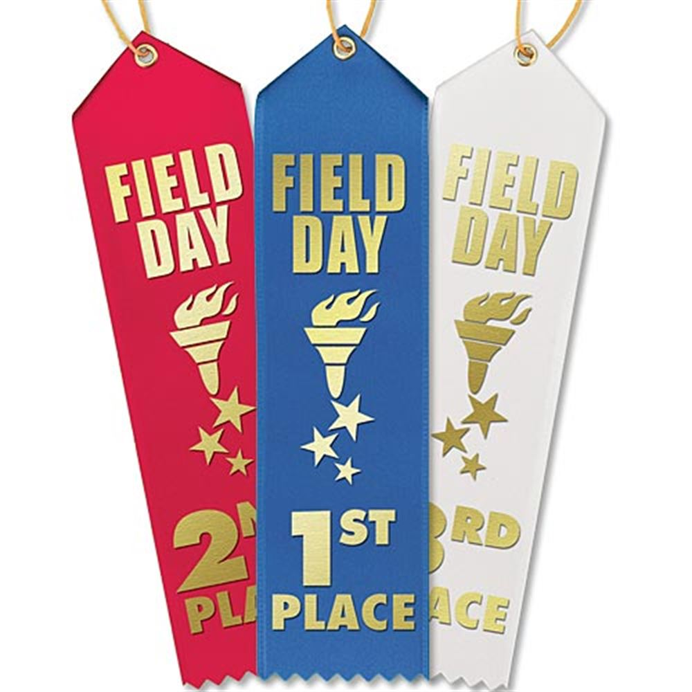 1st-3rd Place Field Day Award Ribbons With Presentation Cards 30-Piece Assortment Pack
